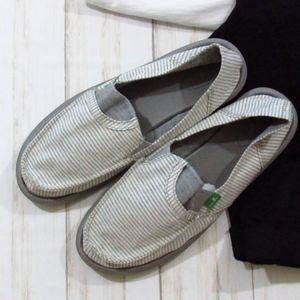 Sanuk Gray/White Striped Loafers W10